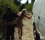 Inked blonde teeny with plaits gets pounded badly in the van when she was hitchhiking
