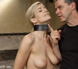 Sexy blonde in collar dominated by guy sucks mask man's cock and gets fucked