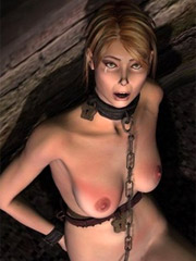 Blonde slave hanged and fucked in both holes!