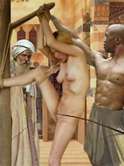 Old man fucks slave and his wife whips her!