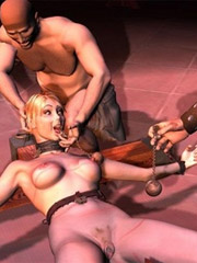 Sexy shaped 3d white girl gets undressed and pussi licked by black tribe men with huge dick.