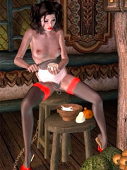 Naked snow white makes all houseworks in gnome's house!
