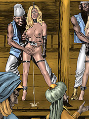Woman auction, white breasts, white slaves in black africa