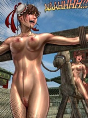 Two bitches humiliate mature guy feminizing and crossdressing him 3d art story