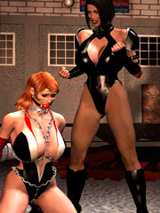 Mistress prepares slave crossdressing him to sissy made to serve dominas on party 3d