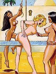 Drawing arts of gorgeous dominant ladies training their naked male slaves
