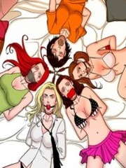 Kinky bdsm art story with blonde and brunette chicks tied upt to each other get their love hole slammed badly with various implements