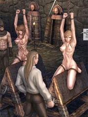 Old perverts torturing enslaved girls with ropes and tit-weighs