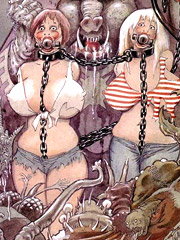 Lustful cartoon mistress in latex enjoys watching her girl slaves suffering when getting tortured and fucked badly