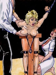 Horny couple playing with their blonde slave gir!