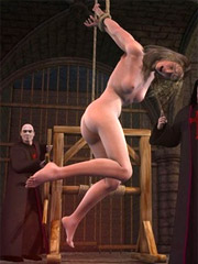 Depraved ministers of the house tied up and suspended from a rope and a naked blonde spank her.
