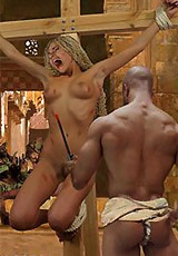 Hot russian blonde gets gagballed and doublepenetrated by her capturers. tags: bdsm art, naked girl, sexy boobies.