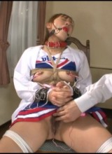 Ponytailed japanese cheerleader bound and tortured with various bdsm tools