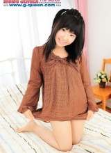 Japanese teen whore in brown blouse changes into red bikini