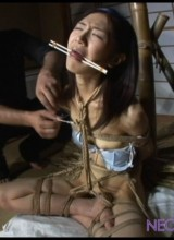 Asian cutie bound hands and feet facefucked and jeered badly