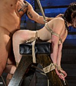 Enslaved young cutie has her clothes taken off and gets a severe pounding in various positions.