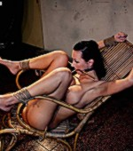 Gag slut is tied up to granny's chair and left