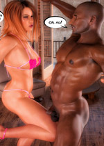 Enslaved dude swallowing big black stud's semen after fucking a red hottie in bikini