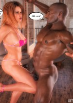 Ginger bitch in a bikini fucking with a black stud and making white slave swallow his jizz