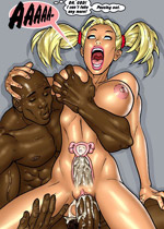 Nasty white cartoon girl willingly taking black cum on their boobs and in their itchy twats.