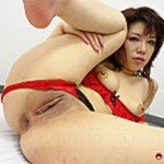 Slut in red lingerie roped and ready for a gangbang.