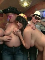 Party turns wild as three fat babes enjoy real wild bbw action with three guys