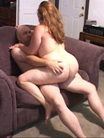 Sex hungry redhead bbw wife fucking with a bald stranger guy.