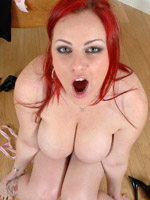 Redhead naughty chubby babe playing with her tits and sucking soft nipples.