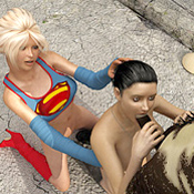 Ponytailed brunette was banged by an awful monster when a heroic helper supergirl saved her