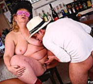 Three guys join three horny fat chicks drinking in bar for hot bbw sexual action