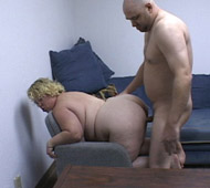 He bends her over the white leather couch at this crazy hot party and he fucks the fat bitch
