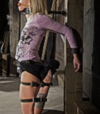 Tattooed blonde tied hard for bad painful tortures in the basement