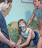 Teen chicks in handcuffs and with stuck mouth banged badly