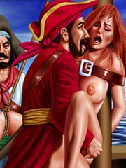 Cruel pirate fucked his redhead captive girl!