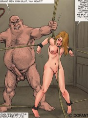 Poor girls enchained and hung with their hands roped getting jeered and fucked rudely in dirty bdsm drawn porn