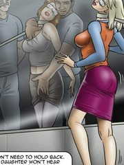 Awesome bdsm comics with to cool chicks hogtied tightly to each other in 69 getting banged badly by a big man and his kinky wife with a strap-on