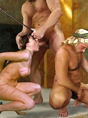 Harem wives watch as new slave suck their husband's cock!