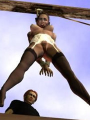This slave girl in lingerie gonna be hanged on the gallows!