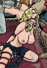 Awesome bdsm art pics of cute blonde stunner involved in dirty bdsm games by group of perverted farmers.