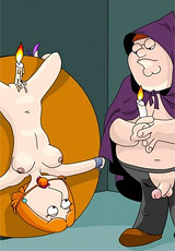 Fat horny toon dude tied up his busty wife and humiliates her body and shaved pussy.