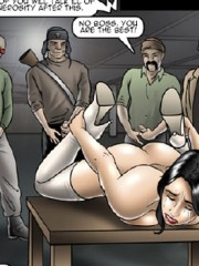 Blonde and brunette gals getting fucked badly by a whole army of rude soldiers in hot bdsm porn comics