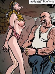 Pregant slave babe with chained hands forced to suck another slave with huge strapon.