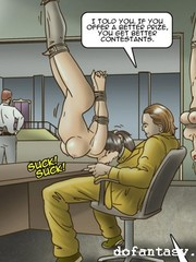 A pair of beautiful slave chicks are under perverted humiliation of their cruel capturers.