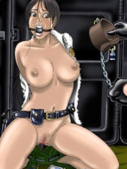 Leashed blonde slave babe gets doublepenetrated in the shower by her cruel capturers.