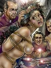 Two big boobed slave girl trying to satisfy dirty sexual desires of their perverted mistress.