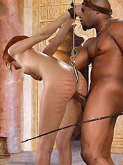 White slave bimbos gets undressed and humilited in suspension bondage by black guys.