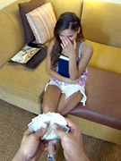 Cute teeny in long socks pulls down her panties