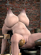 Big boobed restrained 3d cutie kept in basement by cruel mistress in leather mask.