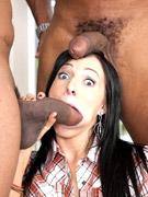 Agent angelina cleans a big hard cock with her tight pussy