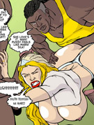 Blonde cartoon wife with epic boobs gets gang banged by three black guys while her husband tied up.